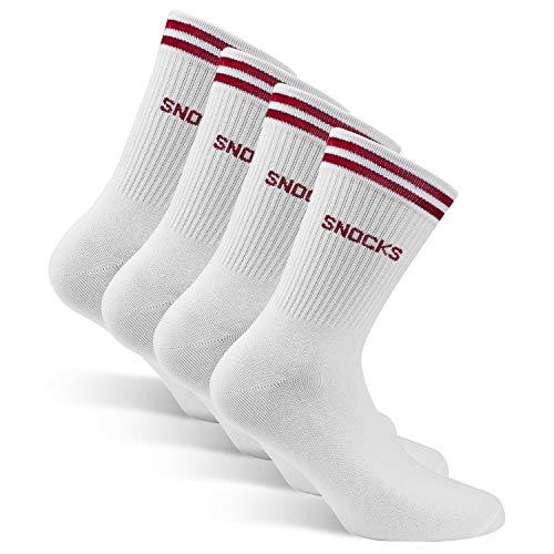 Snocks Damen & Herren Sportsocken (4x Paar) Schwarz, Weiß, Grau 35-50 Hohe Retro Socken Streifen - Tennis Socks Baumwolle (47-50, 4x Weiß - Rot) -