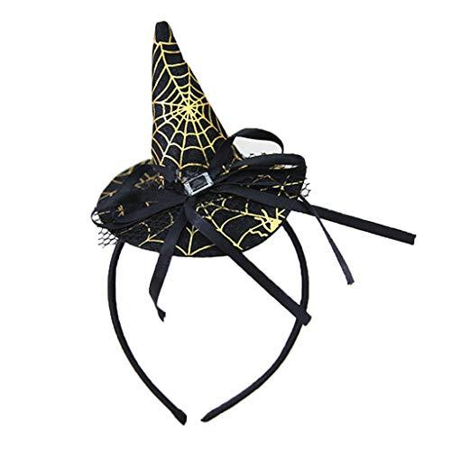LANDUM Frauen Mädchen Hexe Hut Stirnband Halloween Haarband Spitze Bowknot Party Kostüm - Gold + Schwarz