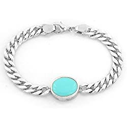 "Ankita Gemstones 20 Gram 925 Sterling Silver Turquoise Silver Chain 6"" Men's Bracelet, Silver Men's Bracelet"