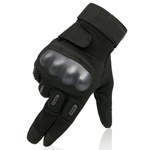 YOEEKU Handschuhe, Sporthandschuhe Motorrad Fahrrad Herren Vollfinger Army Gloves Fitness Taktische Handschuhe (Schwarz, XL) (Leder-nierengurt)