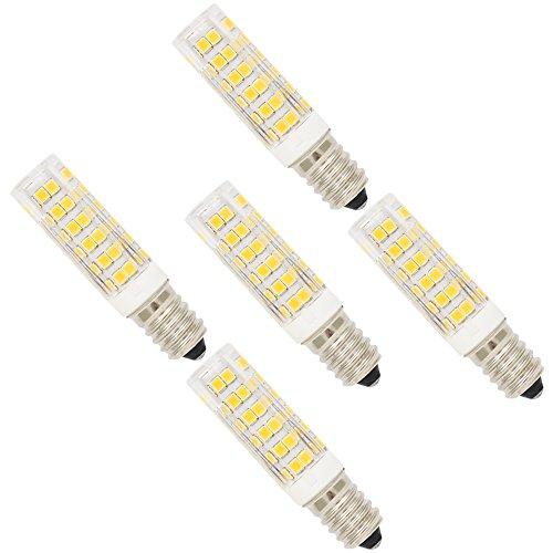 5 Stück 7W E14 LED Lampe Leuchtmittel Glühbirne Energiesparlampe Halogenersatz Leuchte mit 76 SMD 2835 ,Warmweiß 3000K 27x2835 SMD,500 Lumen,360 Abstrahlwinkel AC 220-240V (Led Maiskolben-lampe)