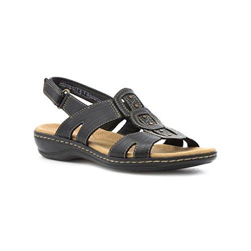 Clarks Ledernes beiläufiges Sandale im Schwarzen für Frauen Größe 4 UK/37 EU - Schwarz (Clarks Schwarz Clogs)