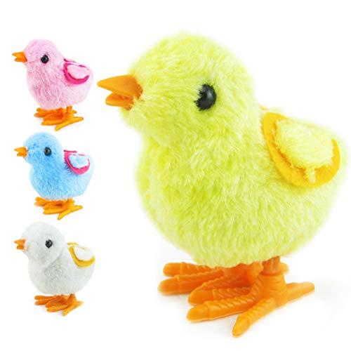 Amosfun Acabar con Juguetes Pascua Decoración Pollo Juguete de Pascua Wind-up Pollo Salta Pollitos de Peluche Juguetes Favores de Fiesta Juguete para niños (Color al Azar)