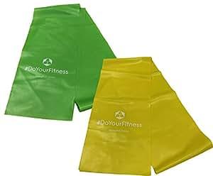 2 bande elastiche, set da 2 »Lavana« da donna / Banda fitness, fascia elastica per esercizi, banda elastica per fisioterapia / giallo 0,35 (facile) + verde 0,45 (medio)