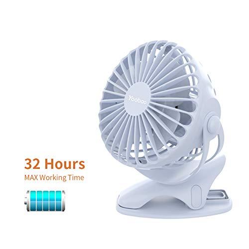 Yoobao Clip auf Kinderwagen USB-Ventilator Batterie Betrieben tragbar Ventilator 32 Stunden Wiederaufladbar Mini Ruhe persönlich Tisch Ventilator für Baby Draußen Schlafzimmer Küche - Blau -