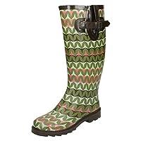 Spot On Ladies Zig Zag Print Wellington Boots