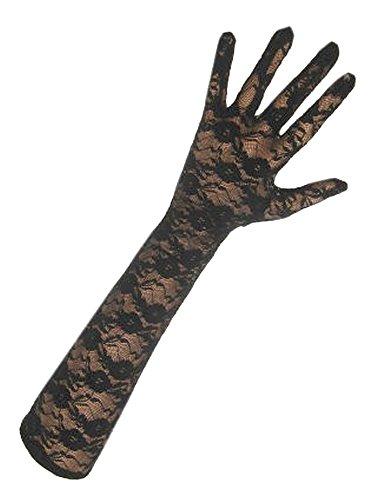 (krautwear® Damen Handschuhe Spitze Ellenbogen Lang Abendhandschuhe Gerafft Braut Kurz Satin Schleife Schwarz Rot Weiss (PX-12108))