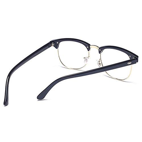 Hommes Femmes Clear Lens Geek / Nerd Rétro Wayfarer Lunettes Sunching Noir brillant