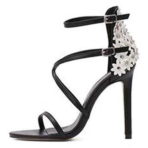8f8216fef5d852 Oasap Damen Offen Cross Riemchen High Heels Blumen Sandalen Black ...