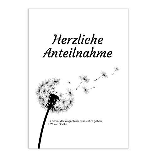 1 x Beileidskarte mit Umschlag / Motiv Pusteblume dezent - Herzliche Teilnahme / Beerdigung, Trauer, Sterbefall, Tod / Anteilnahme / Beileid Karte
