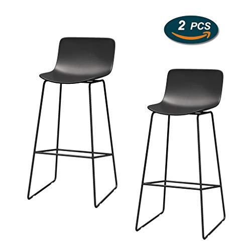 Barhocker aus schwarzem Metall Moderner Zeitgenosse Armlose Barhocker mit Fußstütze Ergonomie-Kunststoffsitz Zählerhöhe Büro/Pub/Bistro/Küche/Essensstuhl (1 Stück, 2 Stück) -