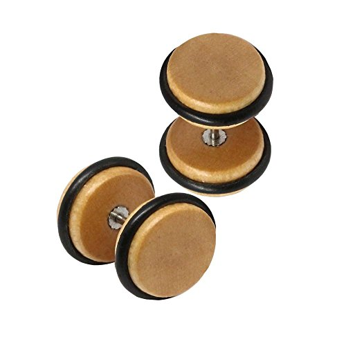 tumundo Set de 4 Paires / 1 Paire Faux Plugs Fake Tunnel Coeur Boucle Clous d'oreille Fakeplugs Piercing Bois Beige 8mm - beige