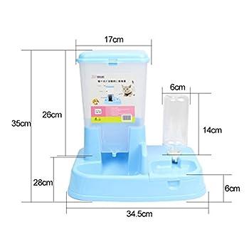 Aosbos 2 en 1 Distributeur Automatique de Nourriture Croquette et d'eau pour Chat et Chien avec Gamelle et Bouteille - 3L Bleu