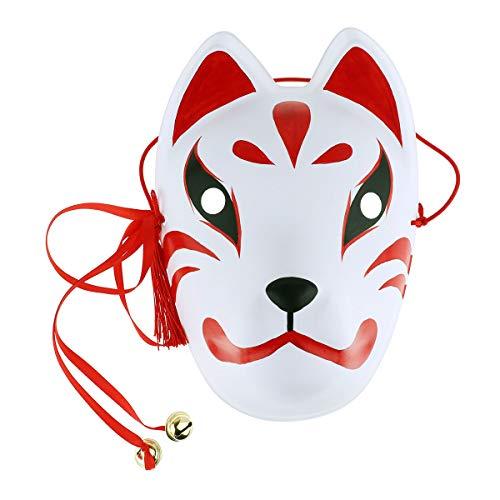 YiZYiF Unisex Japanische Maske Fuchs Fox Halbes Gesicht Maske Gesichtsmaske Grimasse Maske Festival Masquerade Party Cosplay Zubehör B Rot One Size