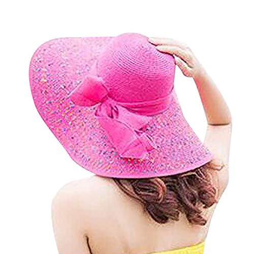 HHyyq Women's Straw Hat Foldable Summer Beach Wide Brim Sun Hat UV Protection Garden Hat Floppy Packable Wide Brim Beach Hat Sun Hat(Hot Pink)