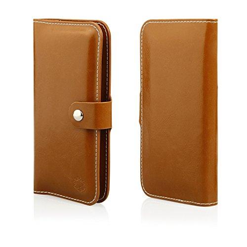 MOELECTRONIX HQ Buch Tasche BRAUN Klapp Schutz Hülle Wallet Flip Case Etui für Oukitel C2