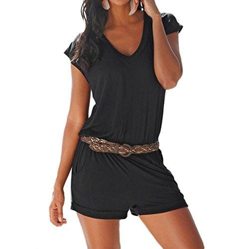 SUNNOW Women's Romper V Neck Elastic Waist Shorts Jumpsuit Playsuit