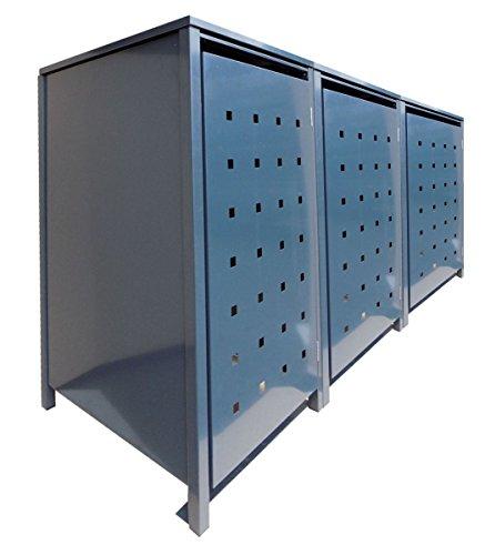 BBT@ | Hochwertige Mülltonnenbox für 3 Tonnen je 120 Liter mit Klappdeckel in Grau (RAL 7016) / Stanzung 5 / Aus stabilem pulver-beschichtetem Metall / Verschiedene Farben + Blech-Stanzungen erhältlich / Mülltonnenverkleidung Müllboxen Müllcontainer
