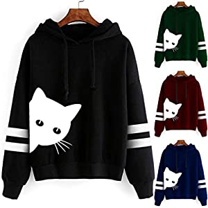 Toasye Damen Katzendruck Langarm Hoodie Sweater Top Womens Cat Print Sweatshirt Kapuzenpullover Tops Bluse