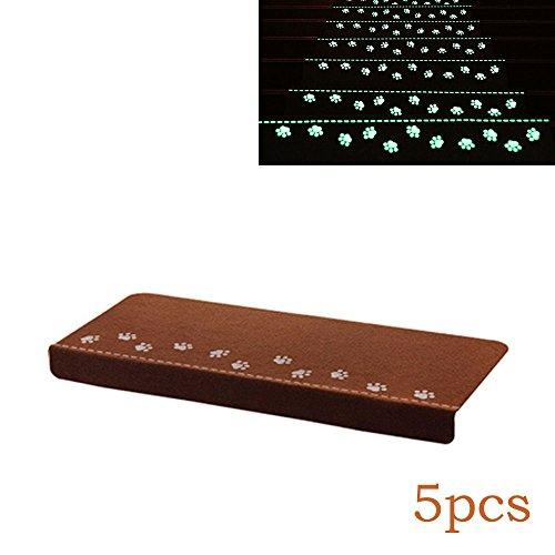 baffect 5x Luminous Stufenmatten Mats Pads Anti-Rutsch Boden Displayschutzfolie Treppe Teppich Mats Teppiche Softy für Indoor Glowing bei Nacht Licht Home Decor braun (Indoor-teppich-fliesen)