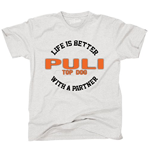 Siviwonder Unisex T-Shirt PULI - LIFE IS BETTER PARTNER Hunde Ash
