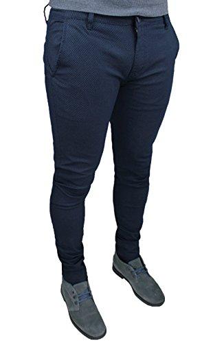 Pantaloni uomo sartoriali blu micro fantasia casual elegante slim fit invernale (48)