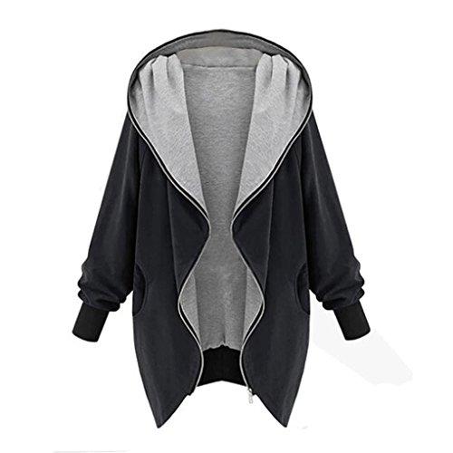 Kolylong®Frauen-Cardigan-Jacke Frau klassische Kapuzen-Reißverschluss-Cardigan (XL, Schwarz) (Womens Kabel Long Sleeve)