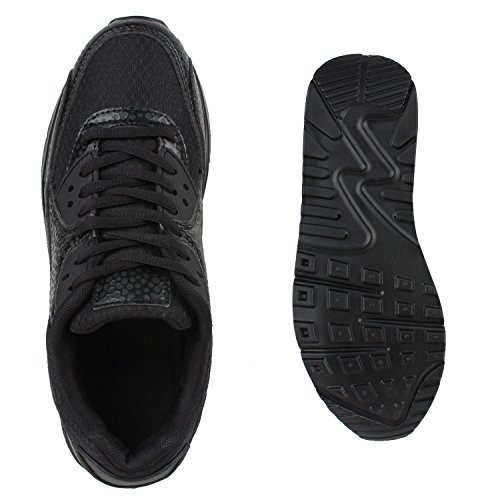 Damen Herren Unisex Laufschuhe Profil Sohle Sportschuhe Fitness Schuhe Schwarz Total Bernice