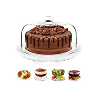 6 in 1 Multi-Function Plastic Cake Stand with Dome Lid Dip Platter, Punch Bowl, Salad Bowl, Chip & Dip Server, Serving Stand, Food Dome