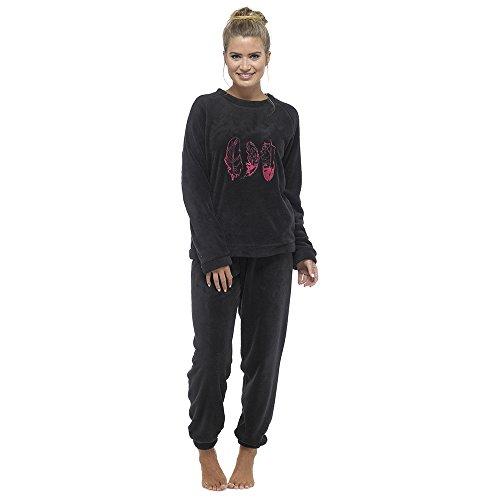 - 41tG3N1VPAL - Womens Ladies Snuggle Fleece Twosie Pyjama Set Lounge Wear Warm Soft Thermal PJ with Gift Bow