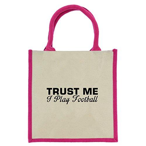 Trust Me I Play Football in schwarz print Jute Midi Einkaufstasche mit Pink Griffe und Trim Manchester Trim
