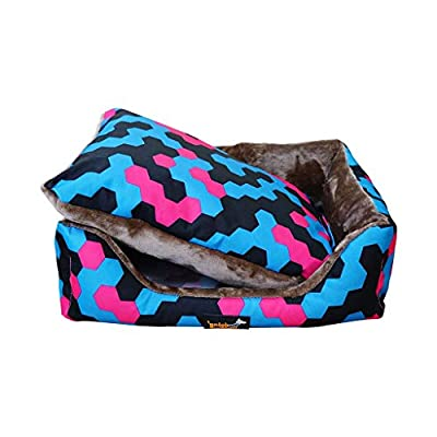 GWM Flannel Oxford Pet Nest, Removable, Machine Washable, Blue And Pink, Suitable For Pets Weighing Below 40KG from GWM