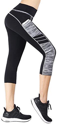 Flatik Damen Sport Leggings (Blickfang 12 Farben) Hohe Taille Fitnesshose Blickdichte Leggins Glanz Training Tights Strech Yoga Sporthose Strumpfhosen mit Tasche (Schwarz Grau(3/4 Capri), XL)