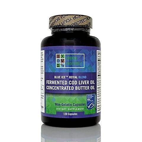 Green Pasture - Blue Ice royale huile de beurre / fermentée Cod Huile de foie - 120 gélules