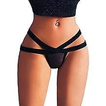 Hanomes - Elegante Mujer Sexy Mini Tanga Estrella Vendajes Malla Tanga Ropa Interior de Encaje Punk
