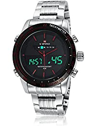 Naviforce reloj para hombre acero resistente al agua militar deportes Detener LED analógico digital Watchs plata