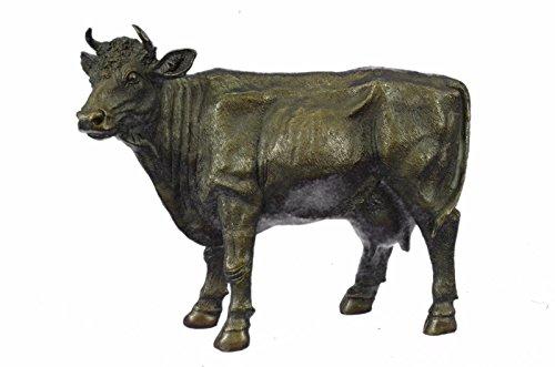Statua di bronzo Scultura...Spedizione Gratuita...Grande originale Milo femminile mucca toro con corno Farm Decor(XN-2130-UK)Statue Figurine Figurine Nude per ufficio e casa Décor Primo Giorno
