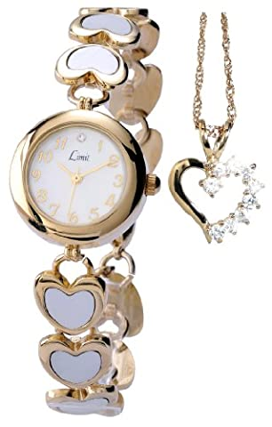 Limit Ladies Watch with White Enamel Inlay Gold Plated Steel Bracelet with Heart Pendant Gift Set