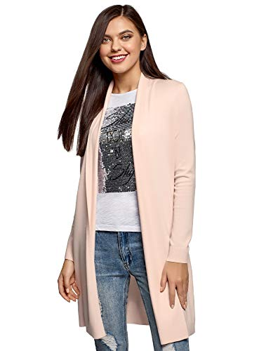 oodji Collection Damen Langer Verschlussloser Cardigan, Rosa, DE 34 / EU 36 / XS