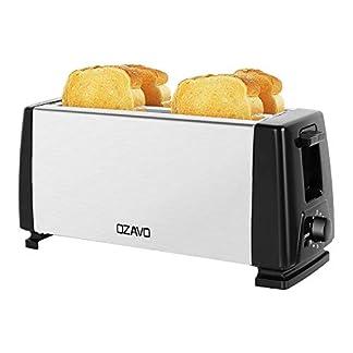 OZAVO-Toaster-Langschlitz-4-Toast-Scheiben-mit-Krmelschublade-Doppelschlitz-Temperatureinstellung-Edelstahlgehuse-Brotzentrierung-1300W