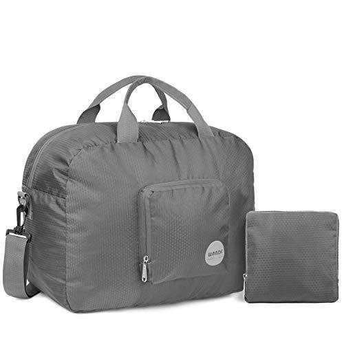 Wandf Leichter Faltbare Reise-Gepäck Handgepäck Duffel Taschen Übernachtung Taschen/Sporttasche für Reisen Sport Gym Urlaub Weekender handgepaeck (25l Grau)