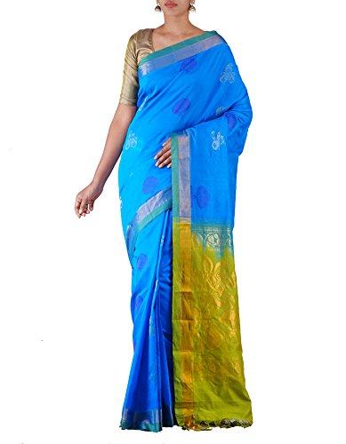 Unnati Silks Women Blue-Green Pure Handloom Uppada Silk Cotton Pattu Saree