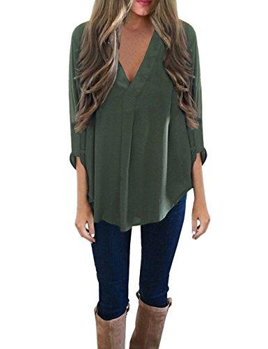 ISASSY Casual Damen Bluse Shirt locker Chiffon Bluse V Ausschnitt 3/4 rmel, Dunkelgrn, M / 36/38