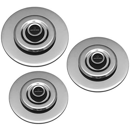 3 Coperchi Antiodore Cooker Ventur Magic in Acciaio Inox 26, 30, 34 Cm Nero