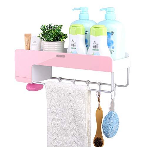ZHAOHUI-ablagen badezimmer ABS-Kunststoff Wasserdicht Raum Aluminium Multifunktion Wandhalterung Belüftung, Stanzfreie Installation, 3 Farben (Farbe : Pink)