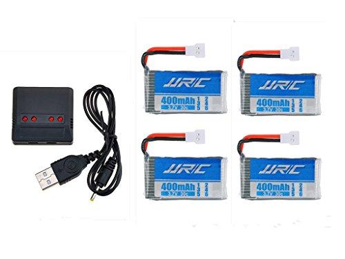 3,7V 400mAh Lipo Akku Batterie (4St) für Hubsan x4 107c 107d 107l JJRC H31 RC Quadcopter Drohne + 4 in 1 Batterien Ladegeräte - 3