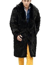 Celucke Mantel Herren Lang Pelzmantel Kunst Felljacke Pelzkragen,Felljacke  Wind Coat Winterjacke Faux Pelz Fur 02557de377