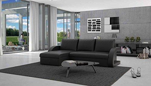 Eck-Sofa mit Schlaffunktion schwarz 238x136 cm L-Form | Cadico-L | Sofa-Garnitur aus Kunstleder mit Recamiere | Polster-Couch ausziehbar für Wohnzimmer schwarz 238 x 136cm - 2
