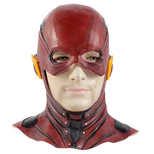 Justice League: Der Flash-Maske aus Latex Ganz Kopf Halloween Cosplay Kostüm-Abendkleid-Partei-Maskerade Zubehör Film Charakter Props,Red-OneSize