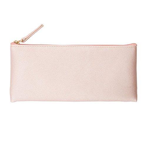 Drawihi Trousse cosmétique Zero Portefeuille Stylo crayon Sac étui téléphone portable Emballage de matériau PU Doré Couleur Rose